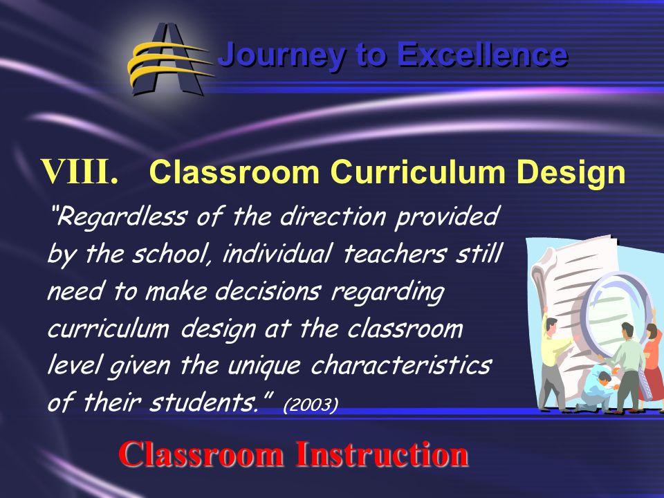 VIII. Classroom Curriculum Design