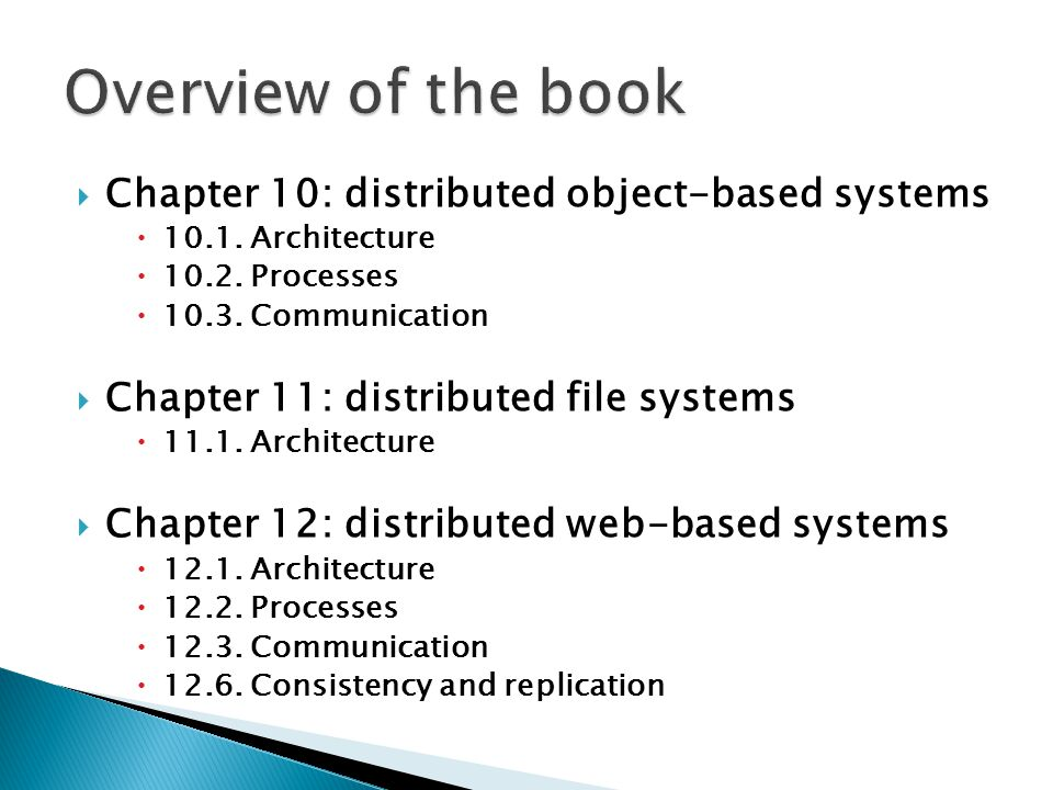Overview of the book Chapter 10: distributed object-based systems