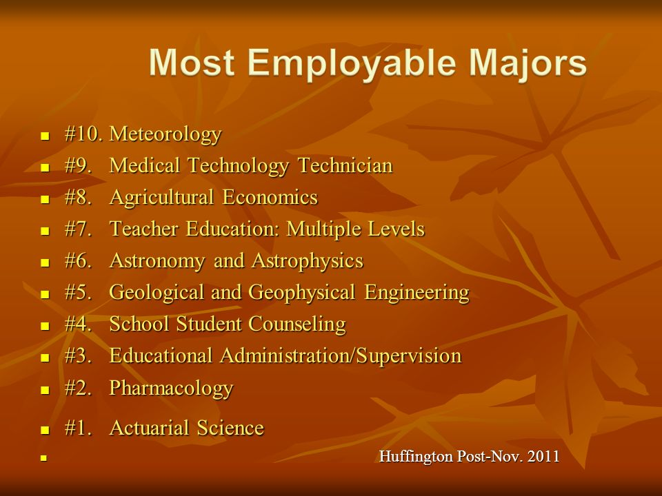 #9. Medical Technology Technician #8. Agricultural Economics