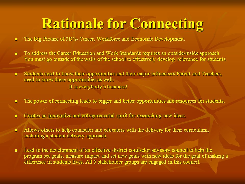 Rationale for Connecting