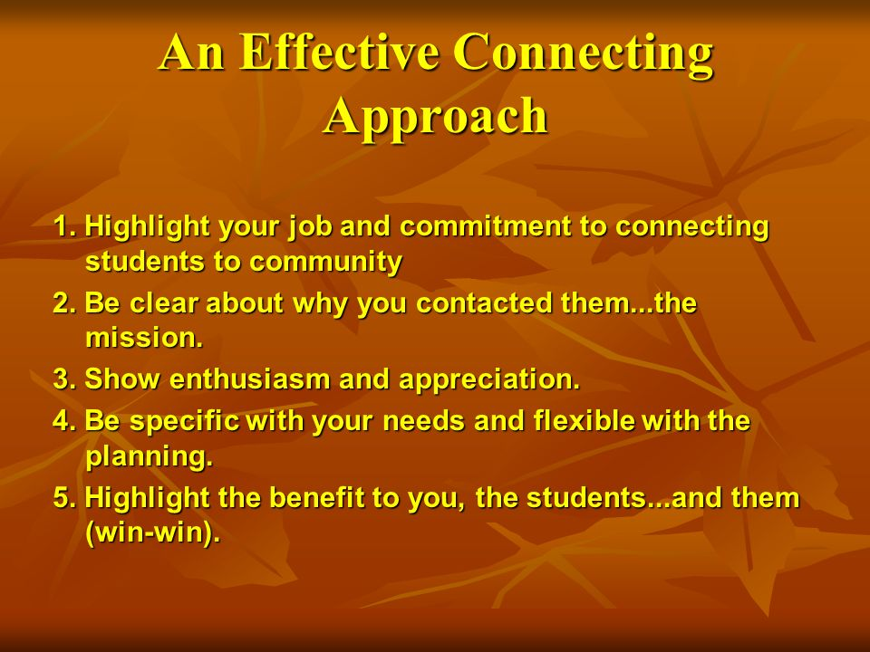 An Effective Connecting Approach