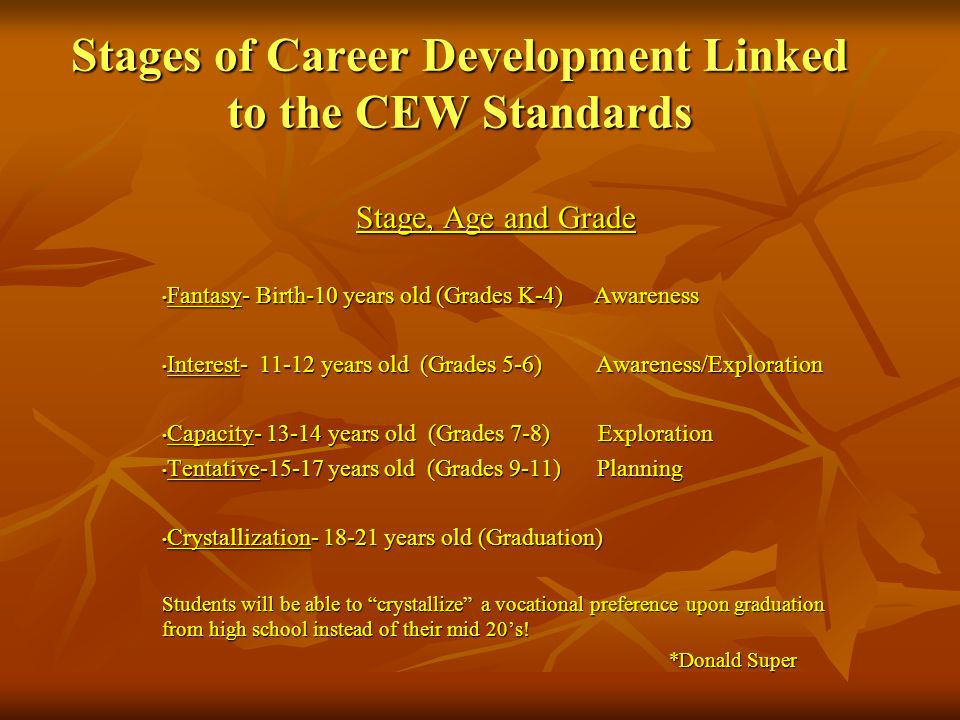 Stages of Career Development Linked to the CEW Standards