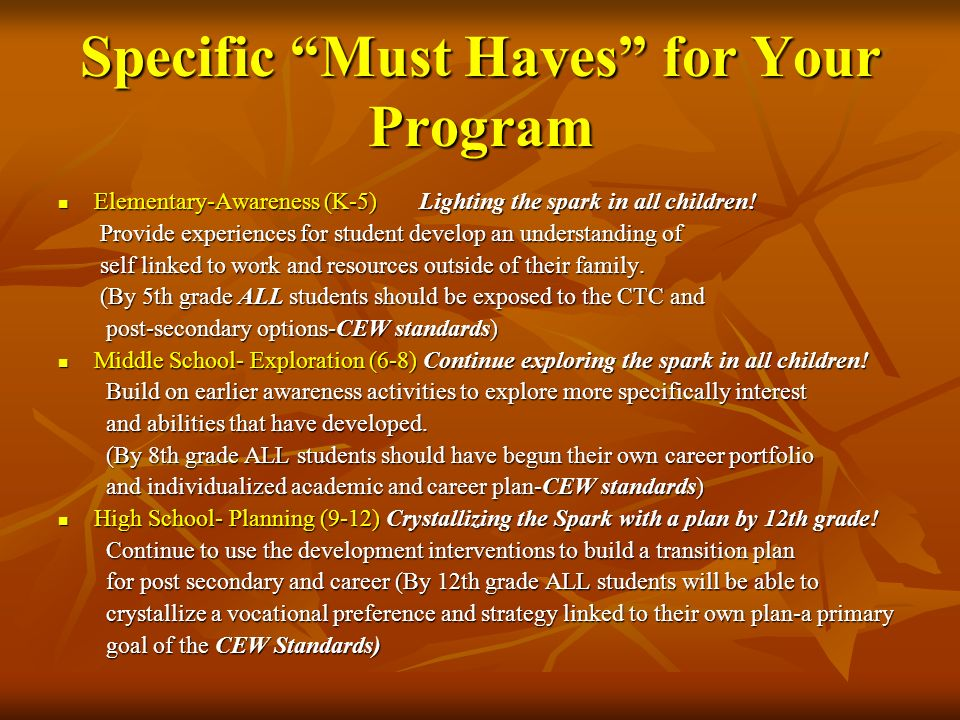 Specific Must Haves for Your Program