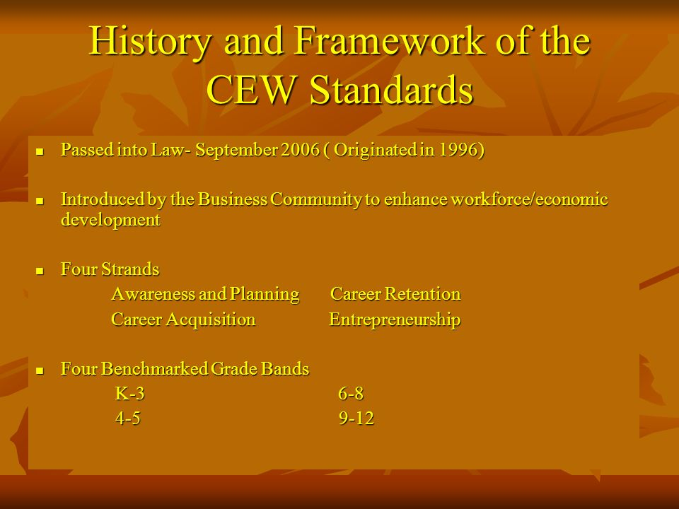 History and Framework of the CEW Standards