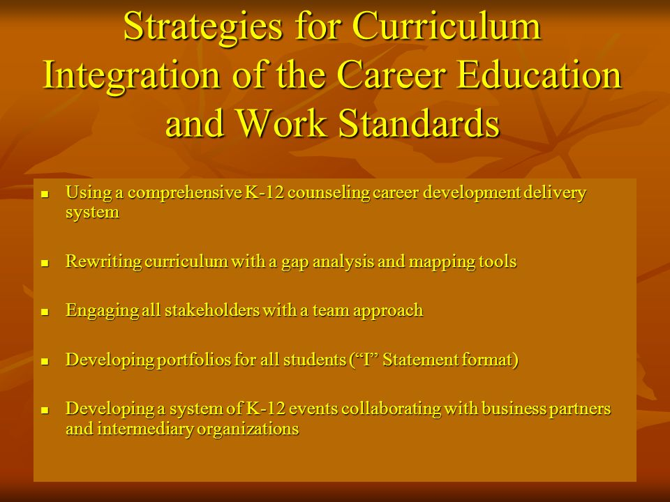 Strategies for Curriculum Integration of the Career Education and Work Standards