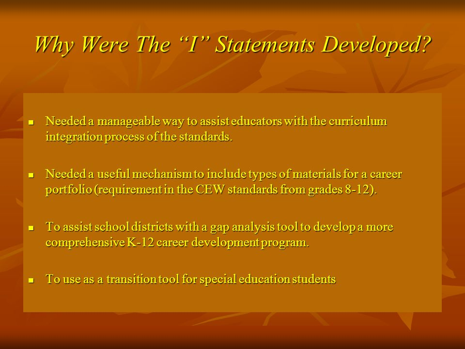 Why Were The I Statements Developed