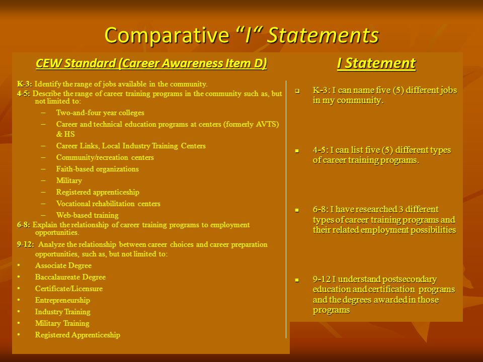 Comparative I Statements