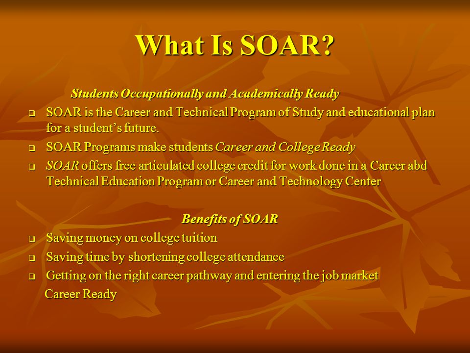 What Is SOAR Students Occupationally and Academically Ready