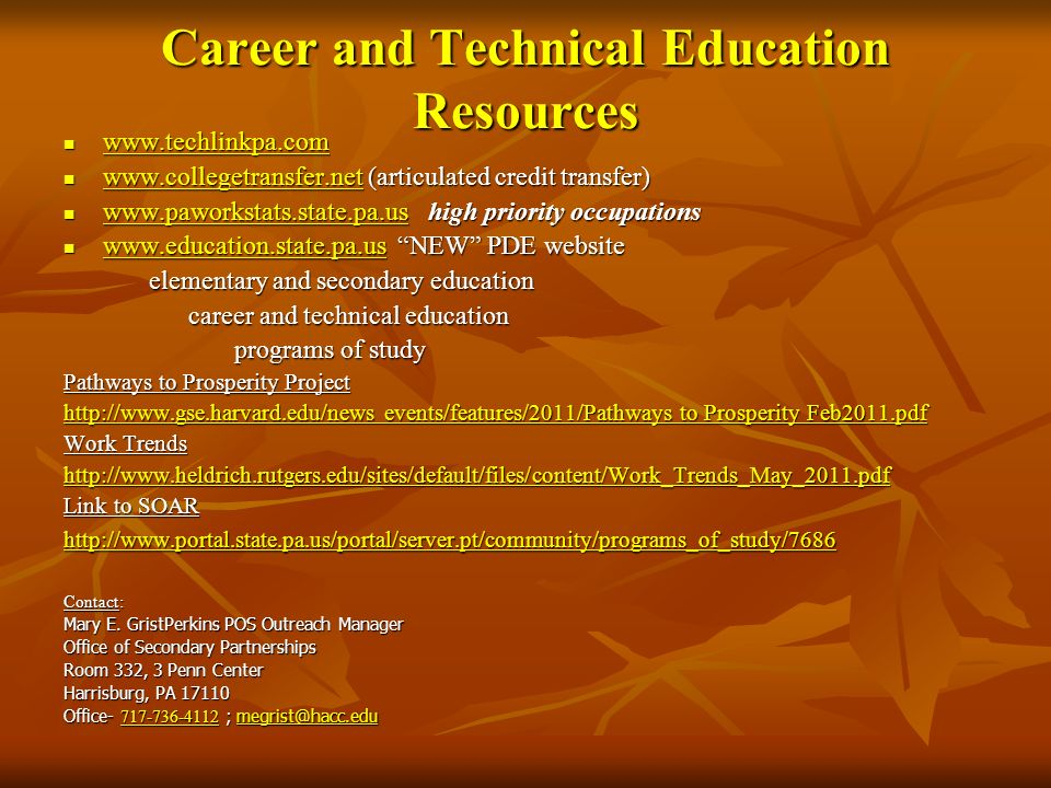 Career and Technical Education Resources