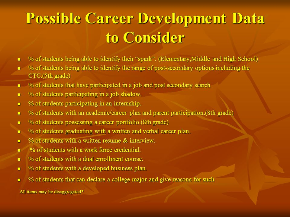 Possible Career Development Data to Consider
