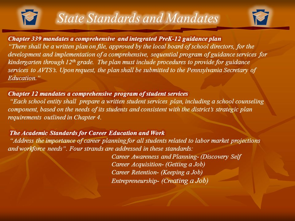 State Standards and Mandates