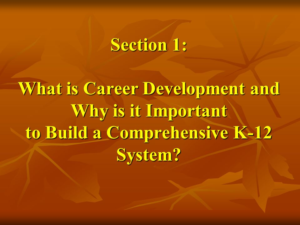 Section 1: What is Career Development and Why is it Important to Build a Comprehensive K-12 System