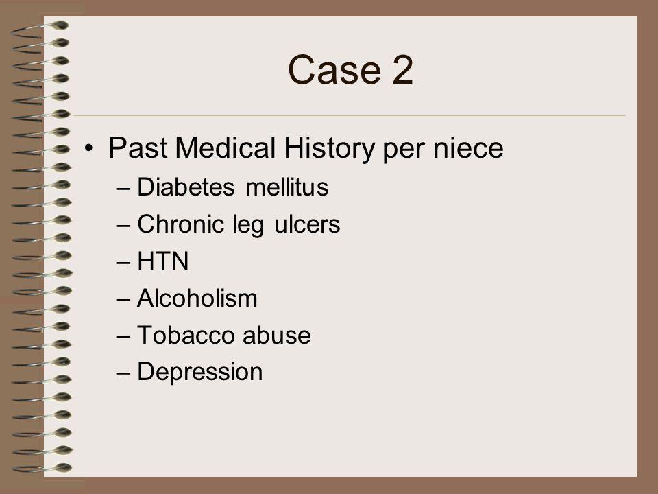 Case 2 Past Medical History per niece Diabetes mellitus