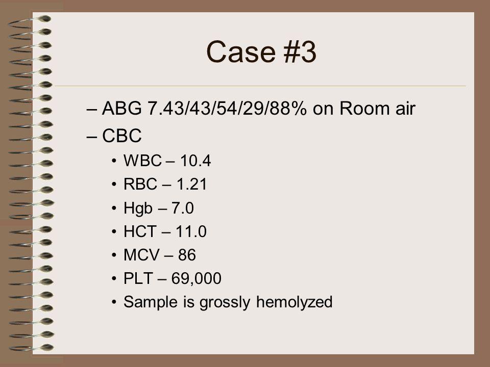 Case #3 ABG 7.43/43/54/29/88% on Room air CBC WBC – 10.4 RBC – 1.21