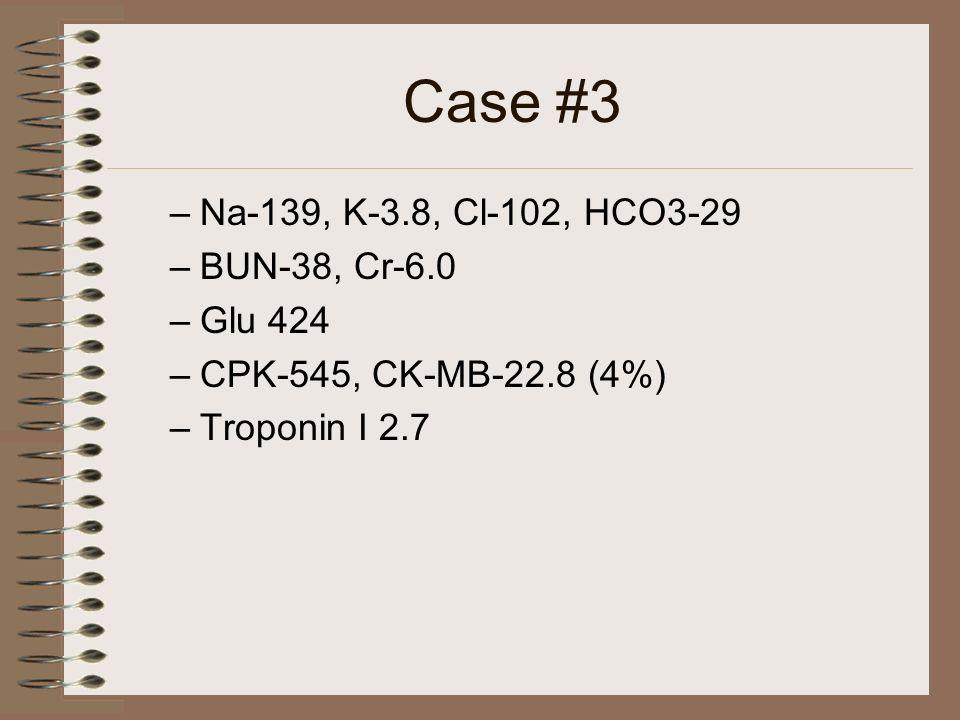 Case #3 Na-139, K-3.8, Cl-102, HCO3-29 BUN-38, Cr-6.0 Glu 424