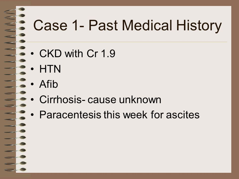 Case 1- Past Medical History