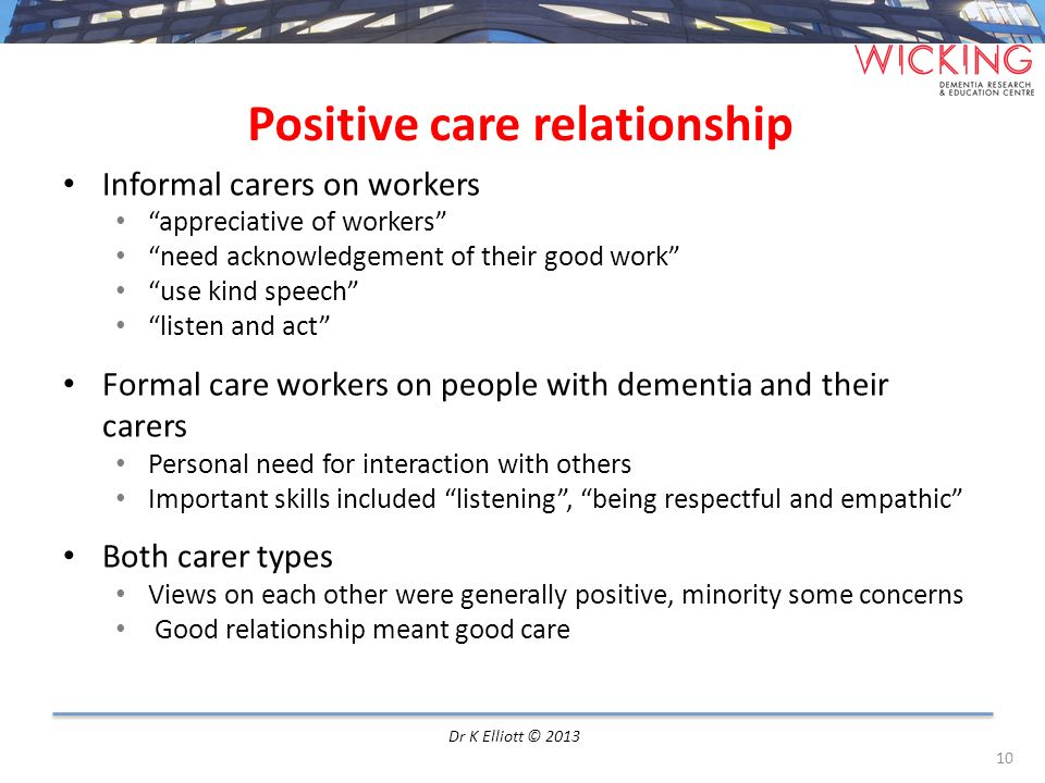 Positive care relationship