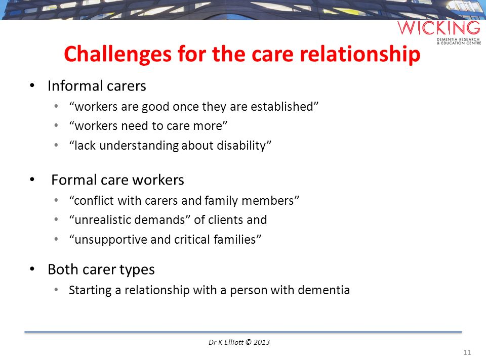Challenges for the care relationship