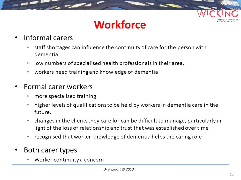 Workforce Informal carers Formal carer workers Both carer types