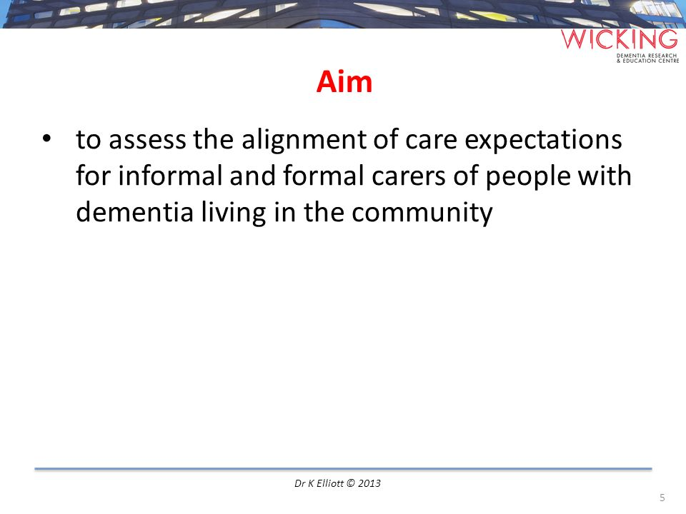 Aim to assess the alignment of care expectations for informal and formal carers of people with dementia living in the community.