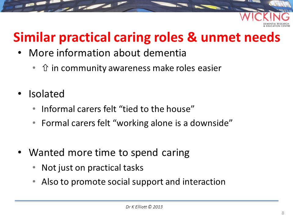 Similar practical caring roles & unmet needs