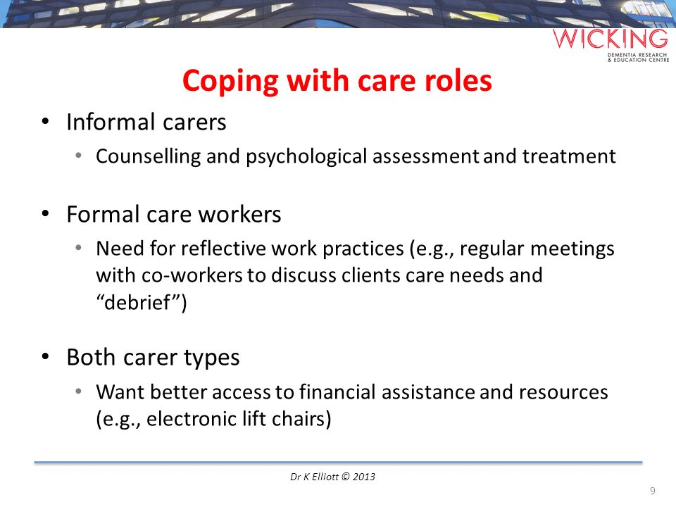 Coping with care roles Informal carers Formal care workers