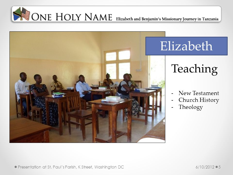 Elizabeth Teaching New Testament Church History Theology