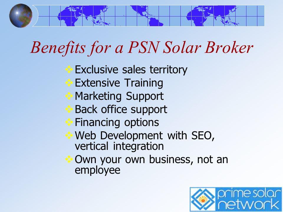 Benefits for a PSN Solar Broker