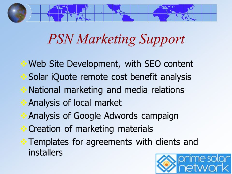 PSN Marketing Support Web Site Development, with SEO content
