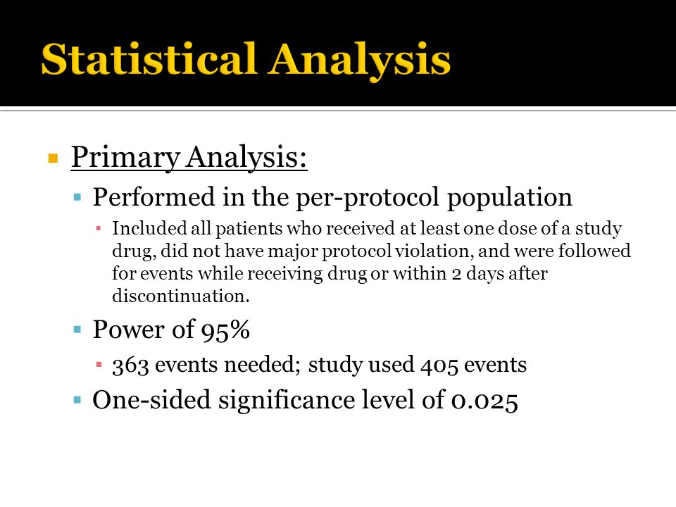 Statistical Analysis Primary Analysis: