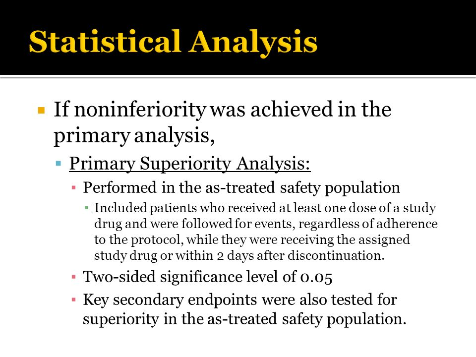 Statistical Analysis If noninferiority was achieved in the primary analysis, Primary Superiority Analysis: