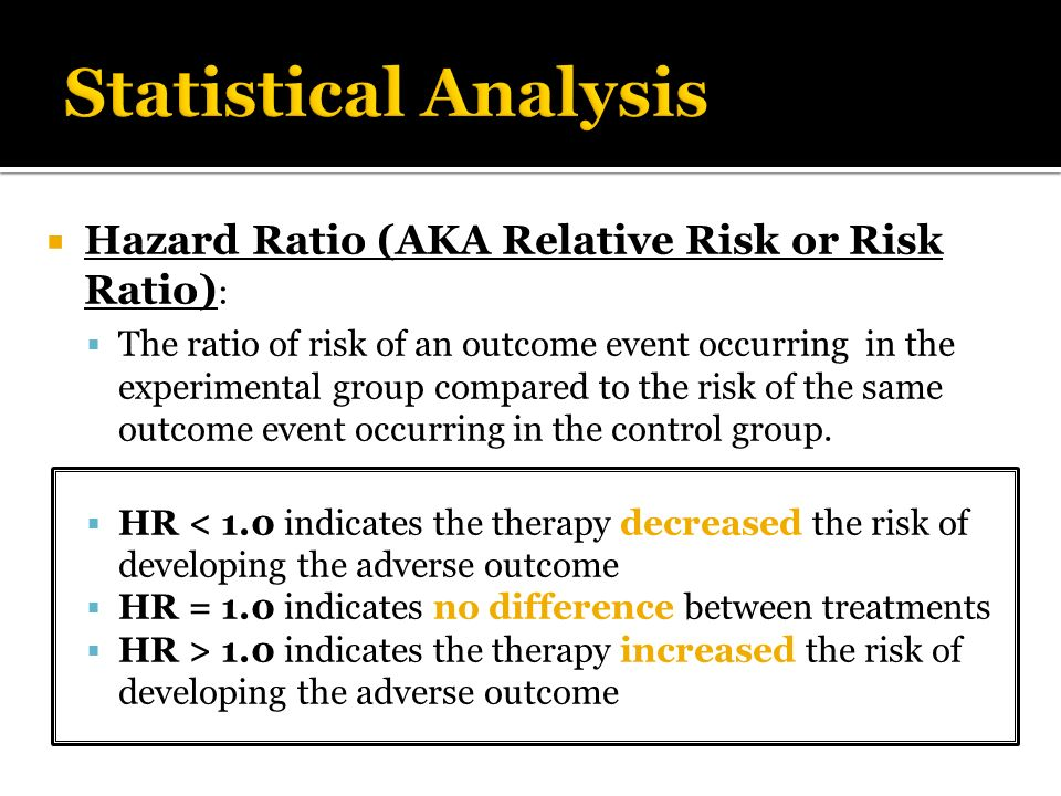 Statistical Analysis Hazard Ratio (AKA Relative Risk or Risk Ratio):