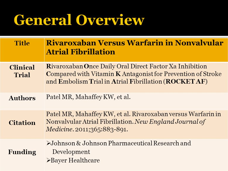 General Overview Title. Rivaroxaban Versus Warfarin in Nonvalvular Atrial Fibrillation. Clinical Trial.