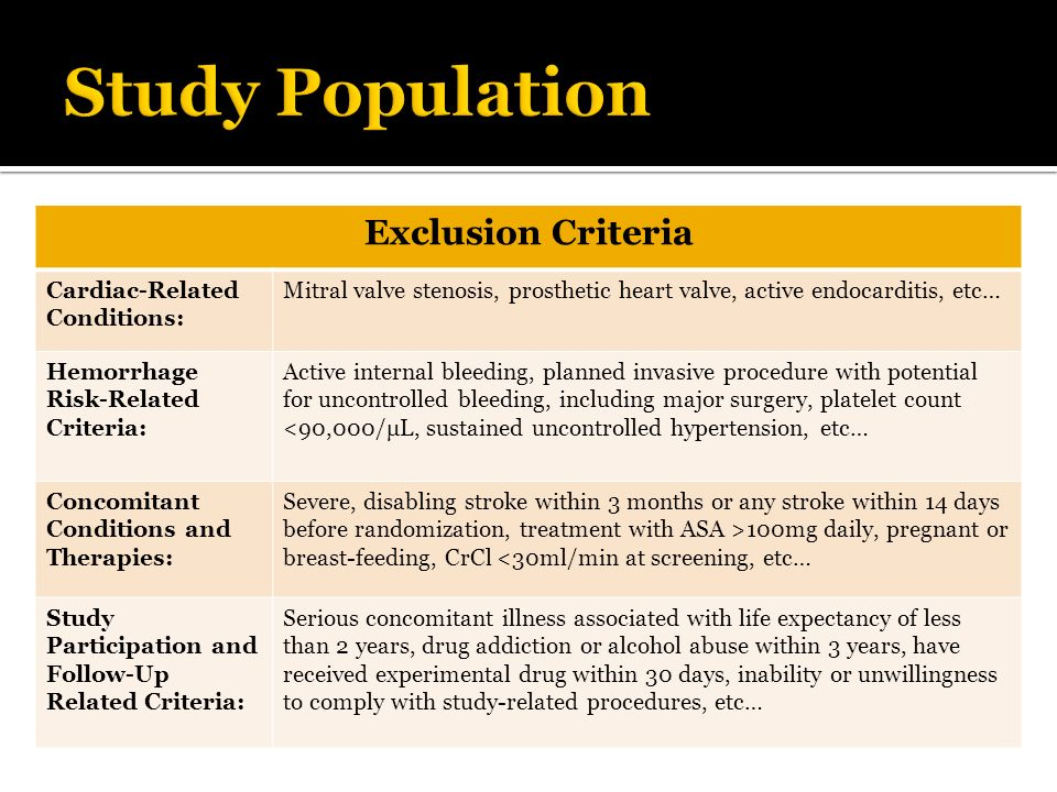 Study Population Exclusion Criteria Cardiac-Related Conditions: