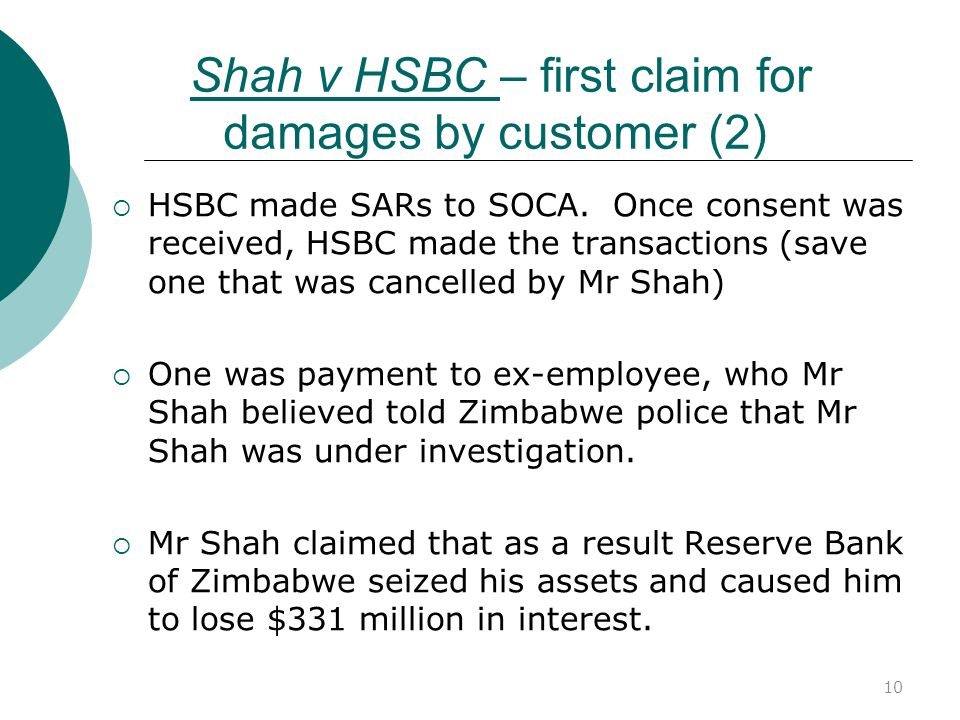 Shah v HSBC – first claim for damages by customer (2)