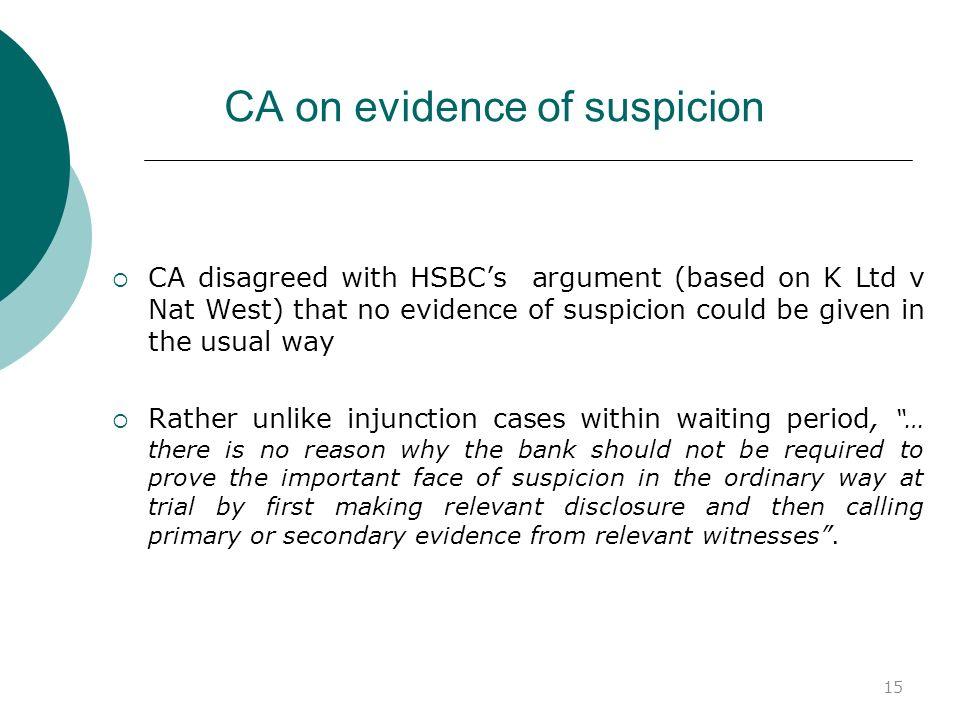 CA on evidence of suspicion
