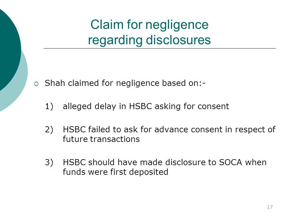 Claim for negligence regarding disclosures