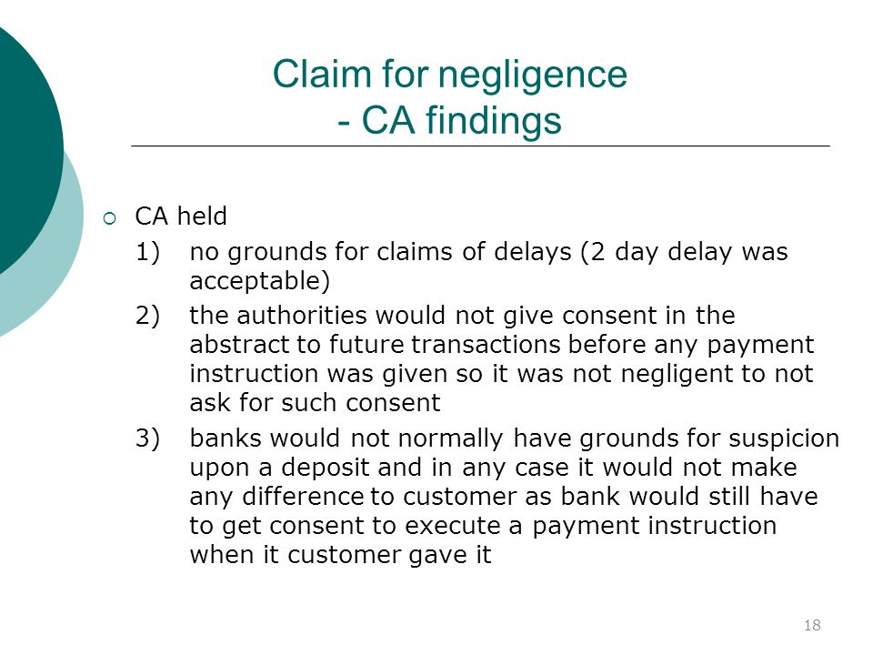 Claim for negligence - CA findings
