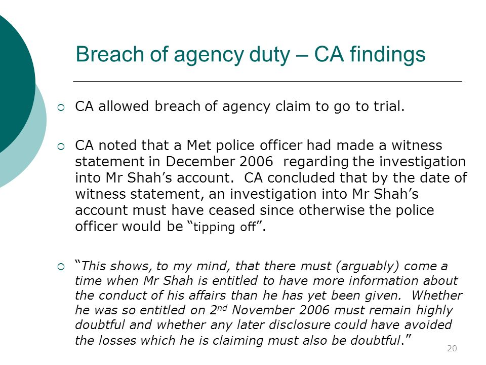 Breach of agency duty – CA findings