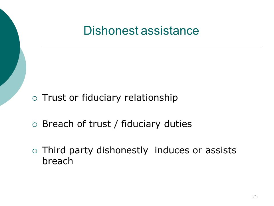 Dishonest assistance Trust or fiduciary relationship