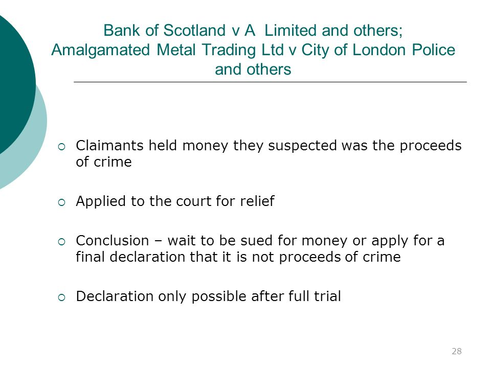Bank of Scotland v A Limited and others; Amalgamated Metal Trading Ltd v City of London Police and others