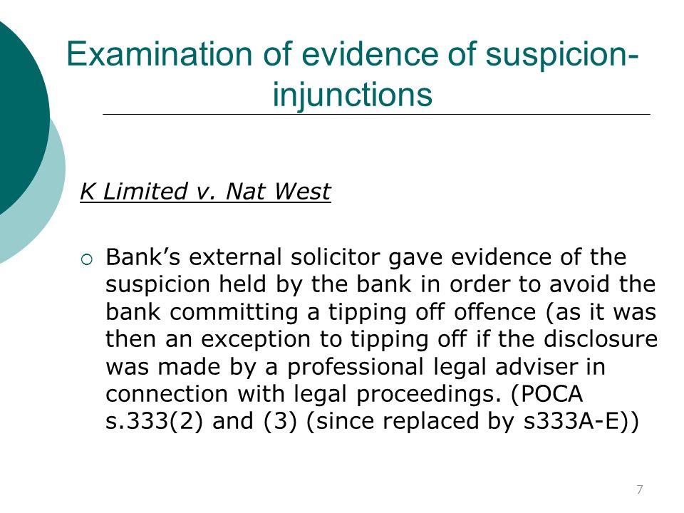 Examination of evidence of suspicion-injunctions