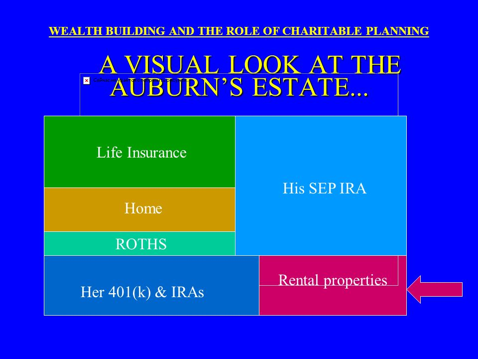 Life Insurance His SEP IRA Home ROTHS Rental properties