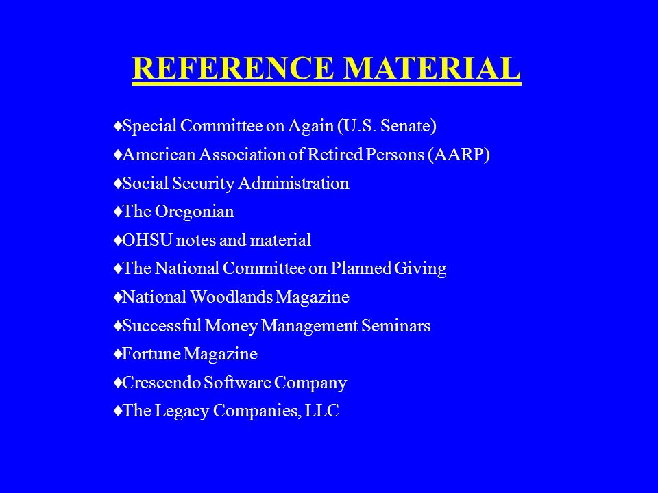 REFERENCE MATERIAL Special Committee on Again (U.S. Senate)