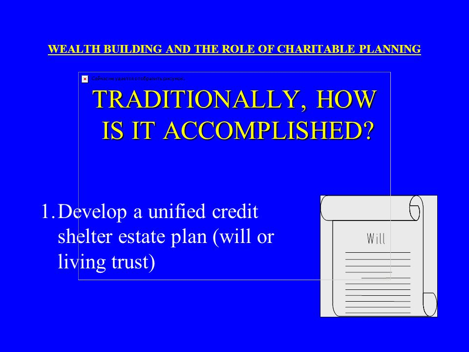 1. Develop a unified credit shelter estate plan (will or living trust)