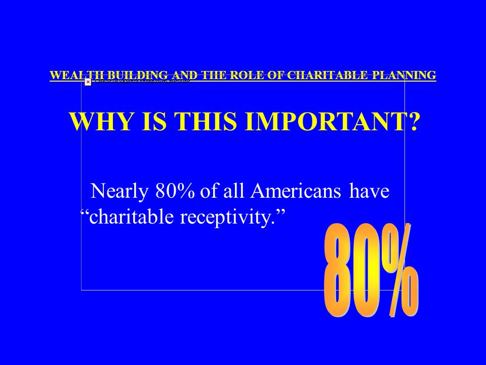 WEALTH BUILDING AND THE ROLE OF CHARITABLE PLANNING