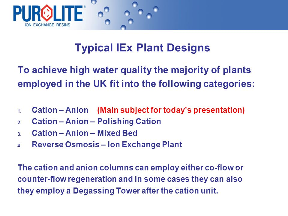 Typical IEx Plant Designs