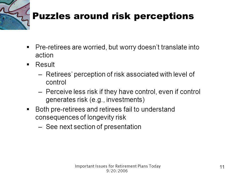 Puzzles around risk perceptions