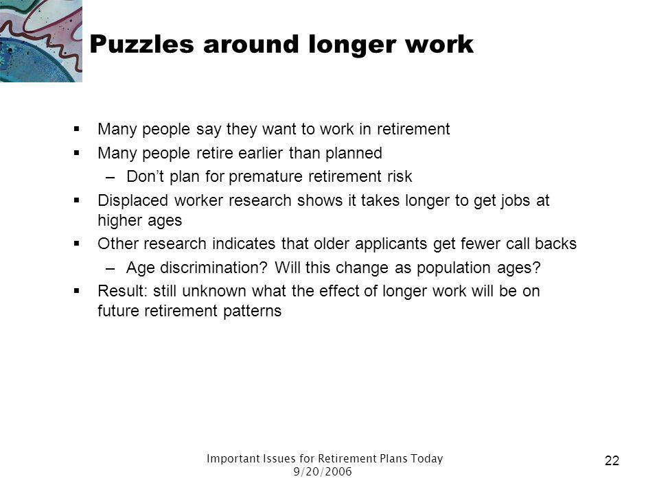 Puzzles around longer work