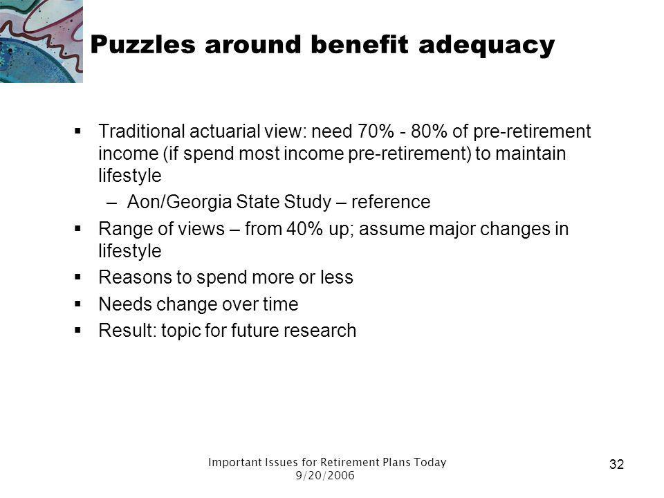 Puzzles around benefit adequacy